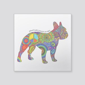 Peace Love Boston Terriers Square Sticker 3""